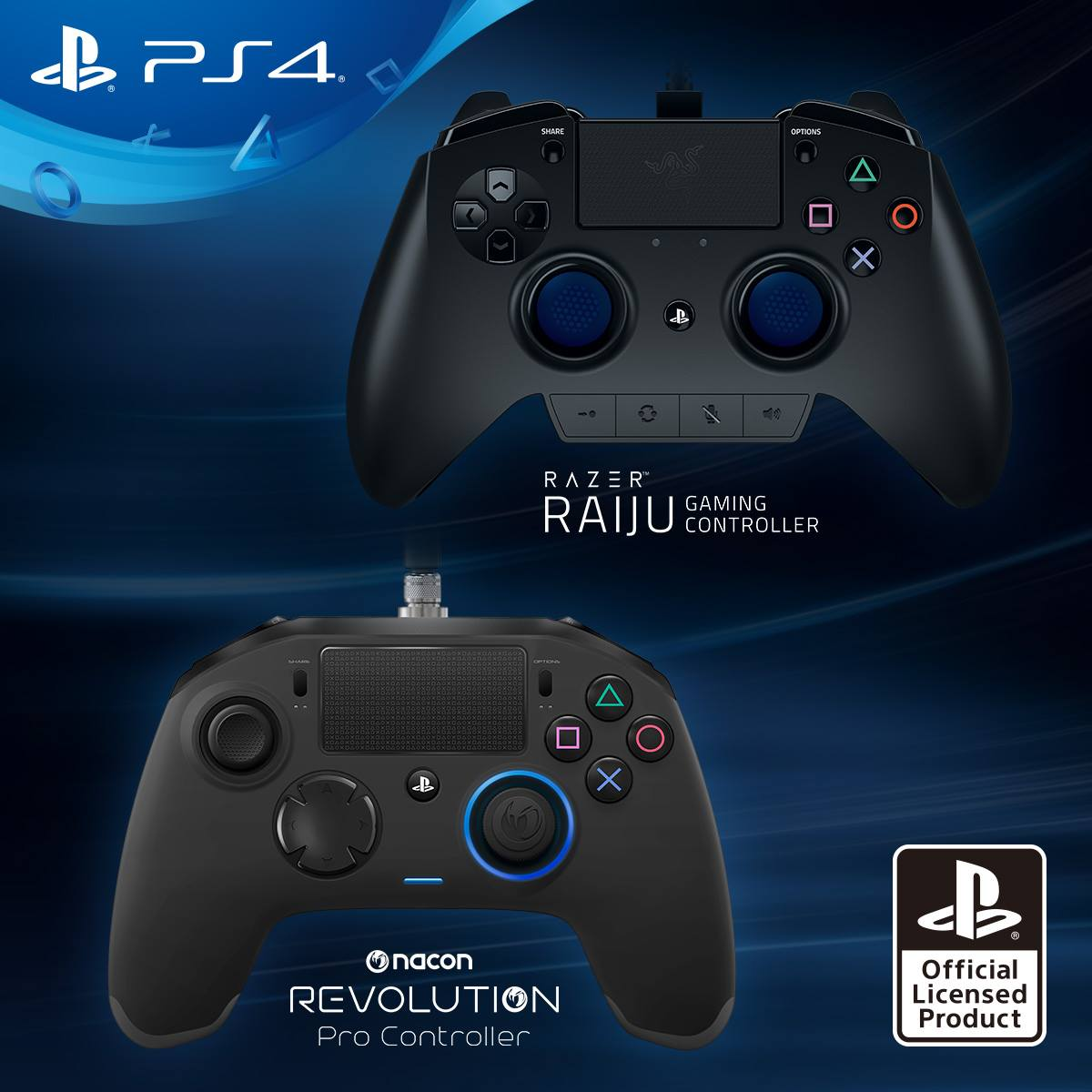 Playstation 4 - Razer Raiju e Nacon Revolution